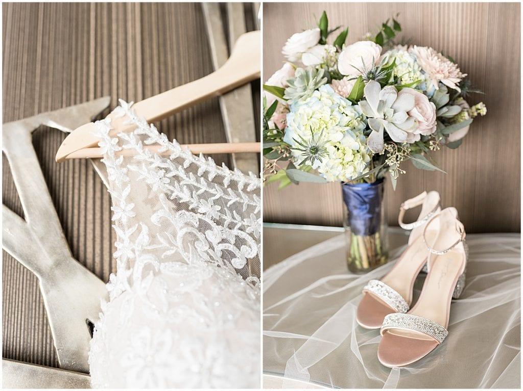 Bridal detail photos at a wedding at The Brandywine in Monticello, Indiana