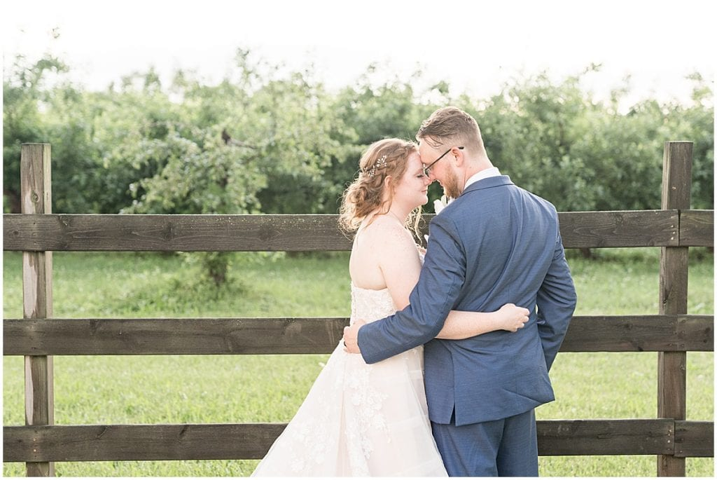 Bride and groom sunset photos at County Line Orchard wedding in Hobart, Indiana