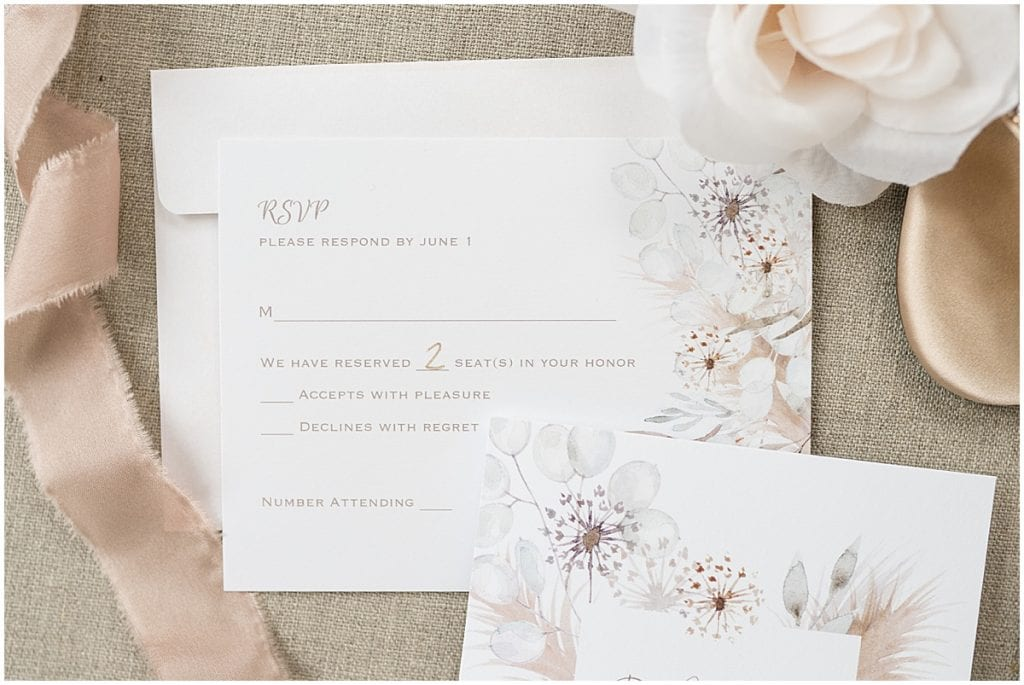 Wedding invitation for County Line Orchard wedding in Hobart, Indiana