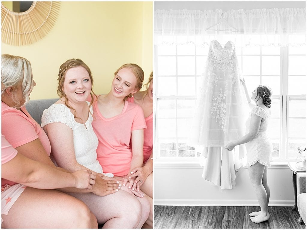 Bride and bridesmaids getting ready for County Line Orchard wedding in Hobart, Indiana