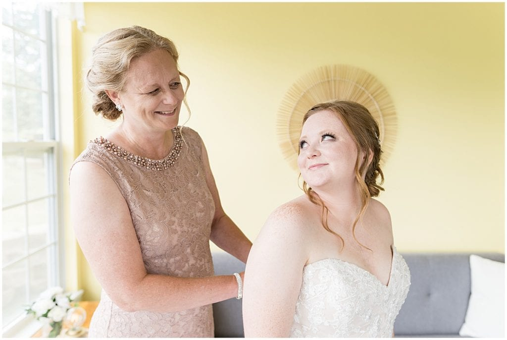 Bride getting ready for County Line Orchard wedding in Hobart, Indiana