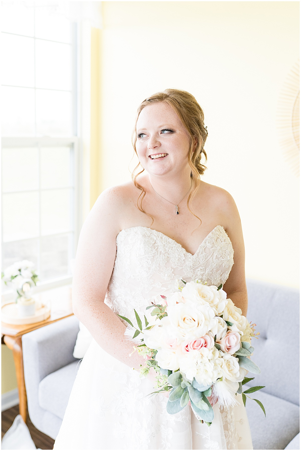 Bride before County Line Orchard Wedding in Hobart, Indiana