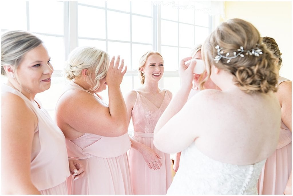Bride first look with bridesmaids before County Line Orchard Wedding in Hobart, Indiana