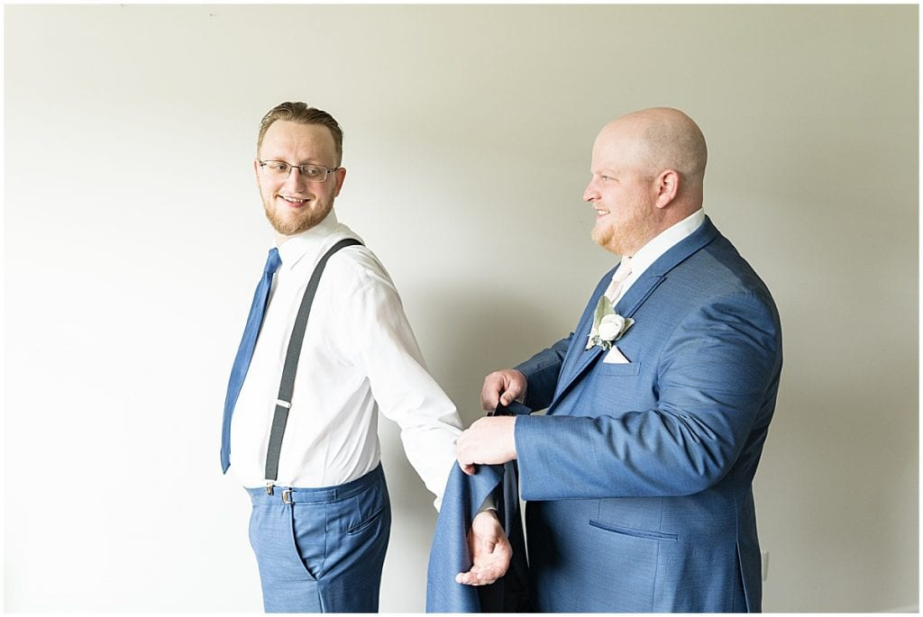 Groom getting ready before County Line Orchard Wedding in Hobart, Indiana
