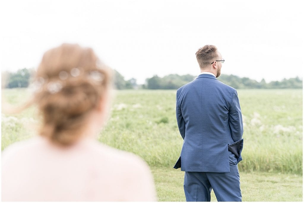 Bride and groom first look before County Line Orchard Wedding in Hobart, Indiana