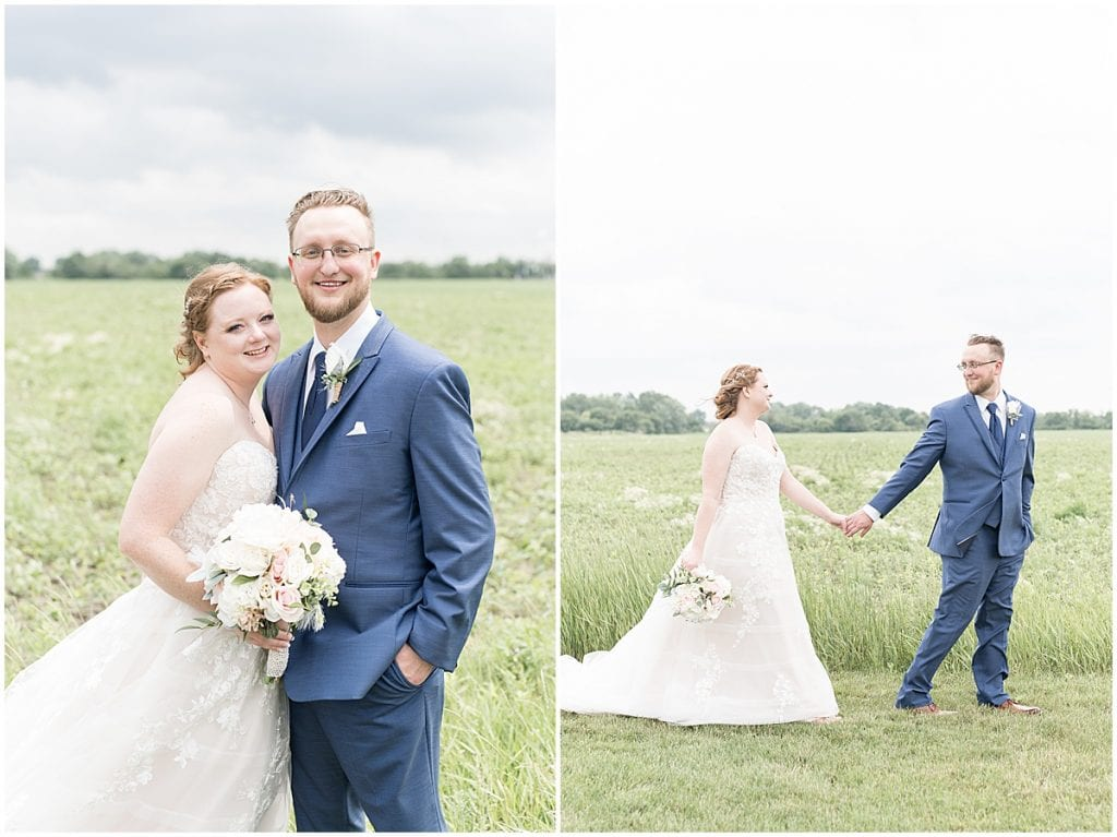 Bride and groom portraits before County Line Orchard Wedding in Hobart, Indiana