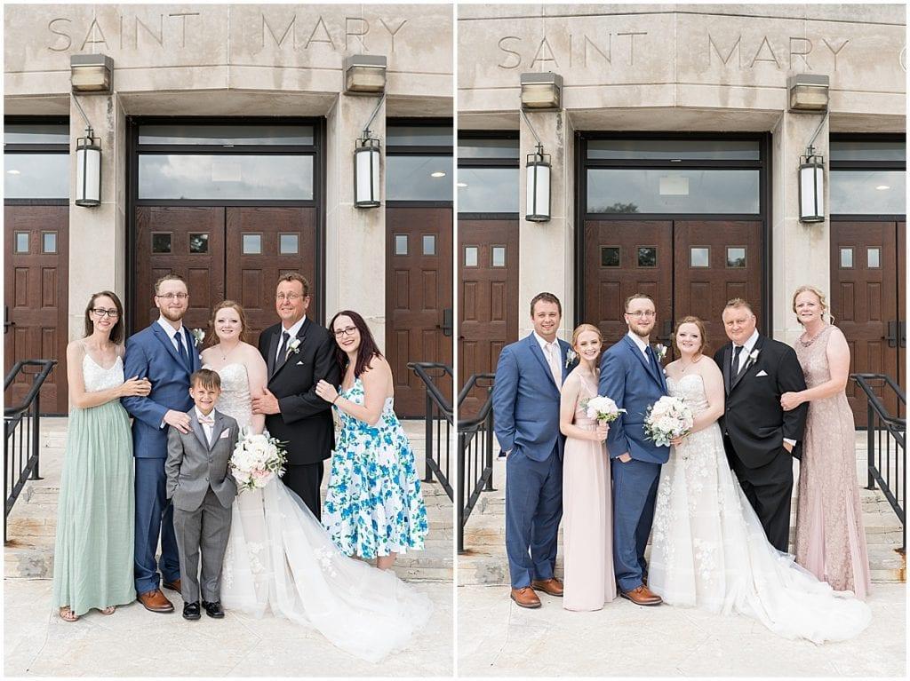 Family photos at wedding at Saint Mary's Catholic Church in Griffith, Indiana