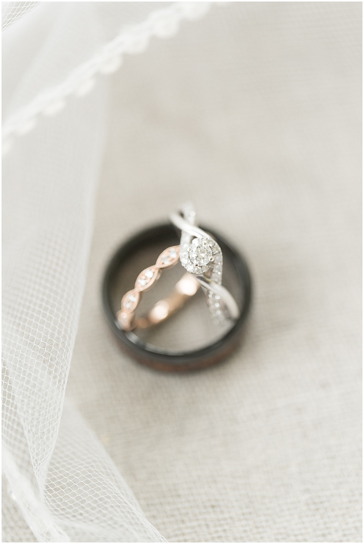 Wedding rings for County Line Orchard wedding in Hobart, Indiana