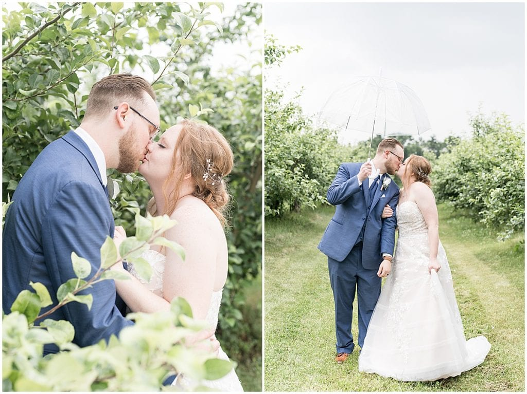 Bride and groom photos at County Line Orchard wedding in Hobart, Indiana