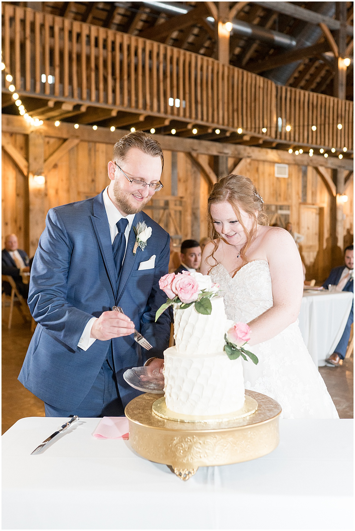 Bride and groom cutting cake at County Line Orchard wedding reception in Hobart, Indiana