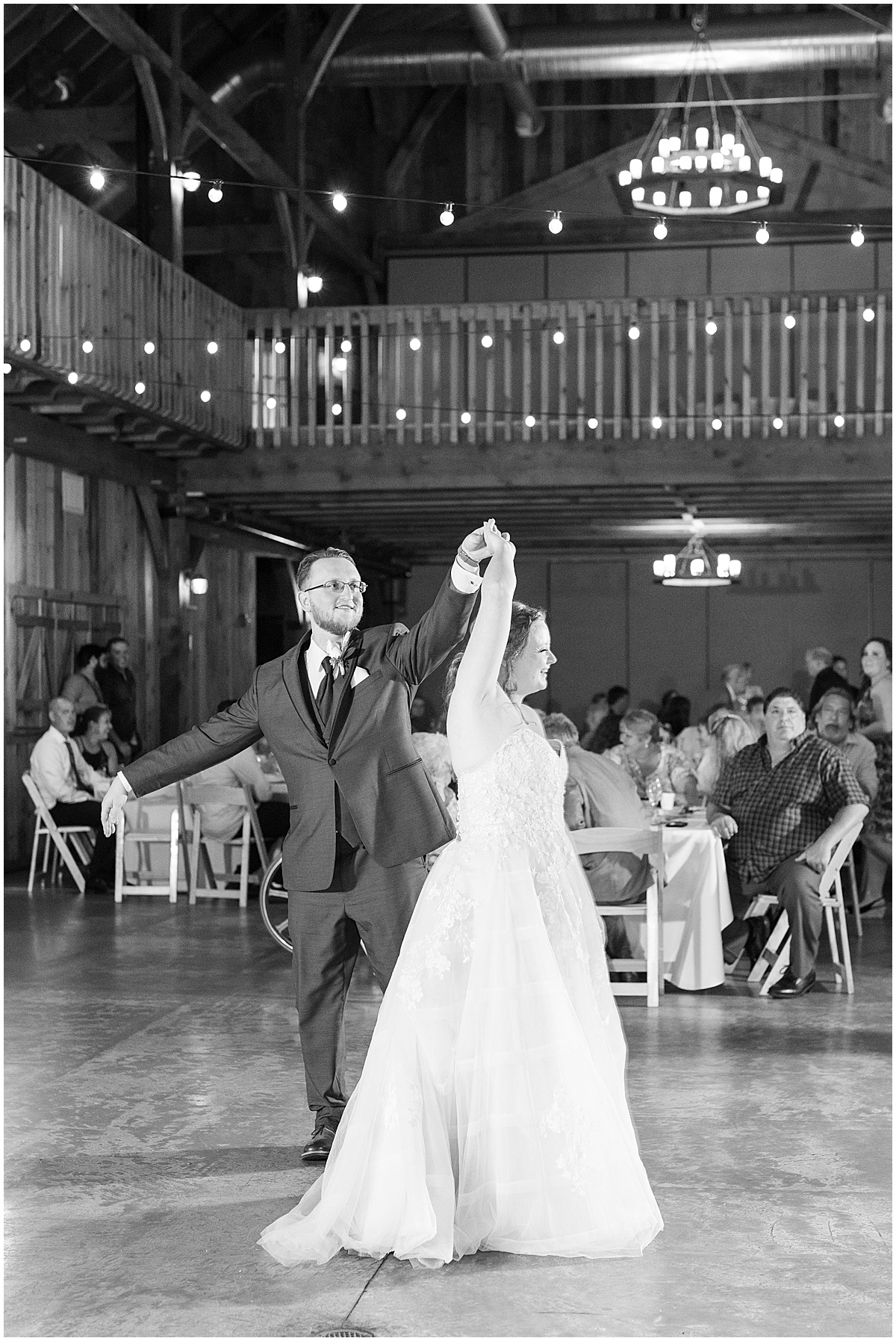 Bride and groom first dance at County Line Orchard wedding reception in Hobart, Indiana