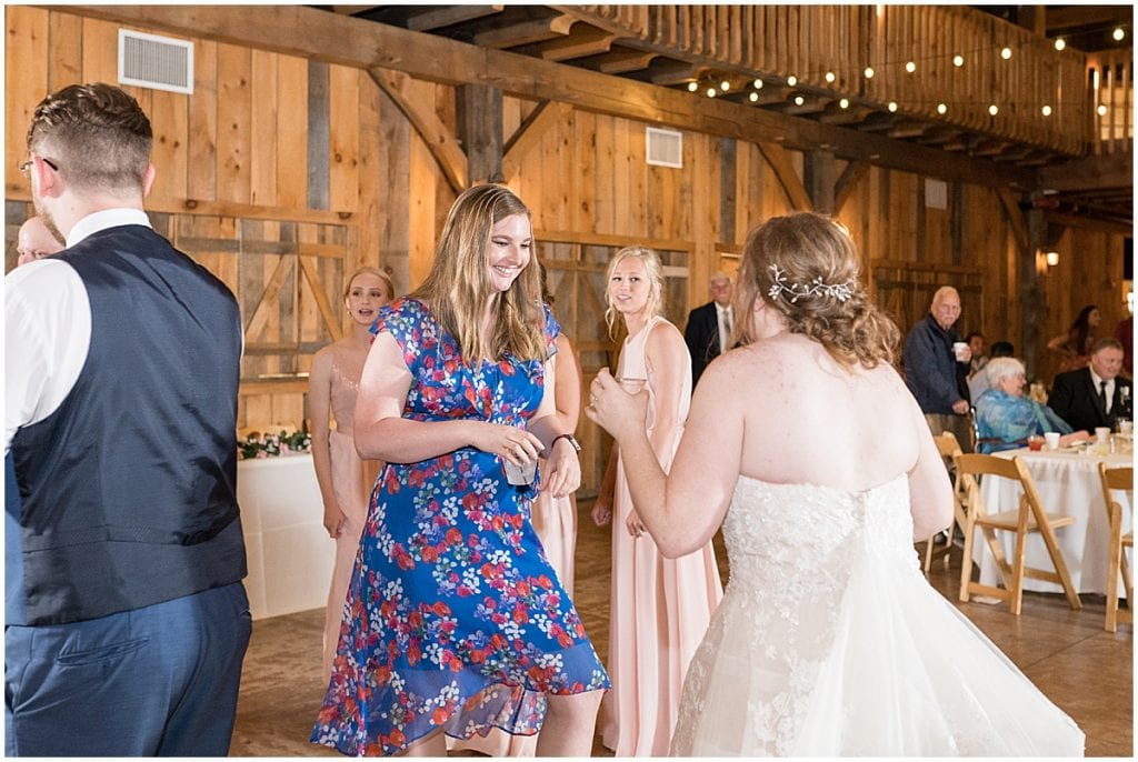 People dancing at County Line Orchard wedding reception in Hobart, Indiana