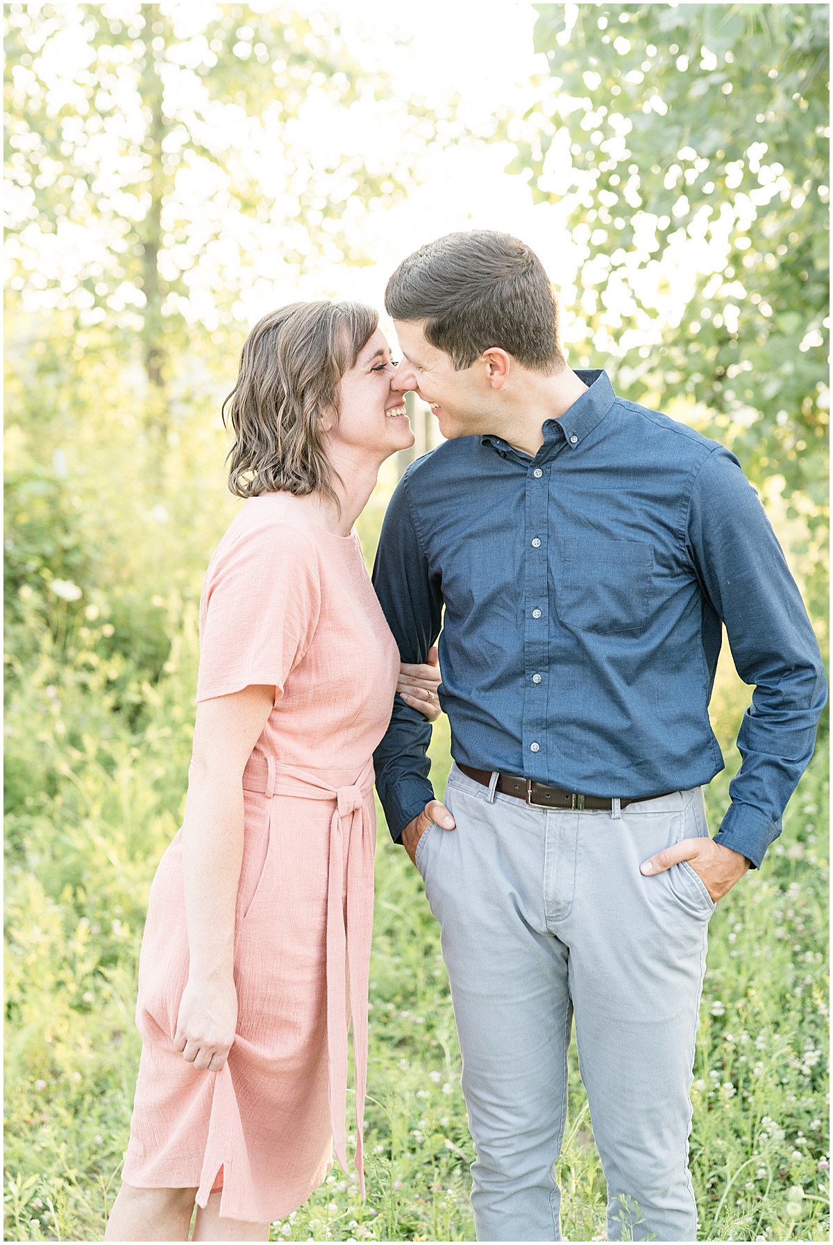Engagement photos at Strawtown Koteewi Park in Noblesville, Indiana by Indianapolis wedding photographer Victoria Rayburn Photography