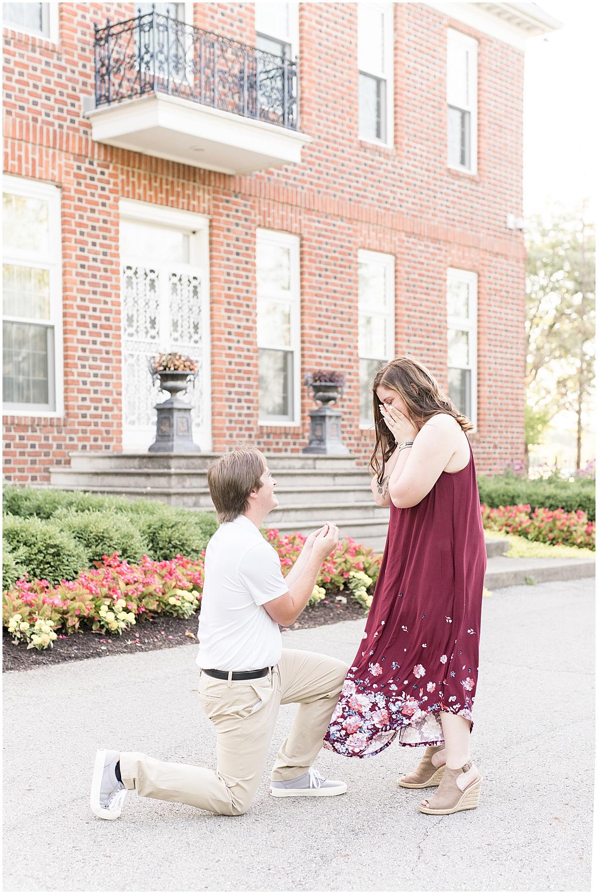Proposal photos at Coxhall Gardens in Carmel, Indiana