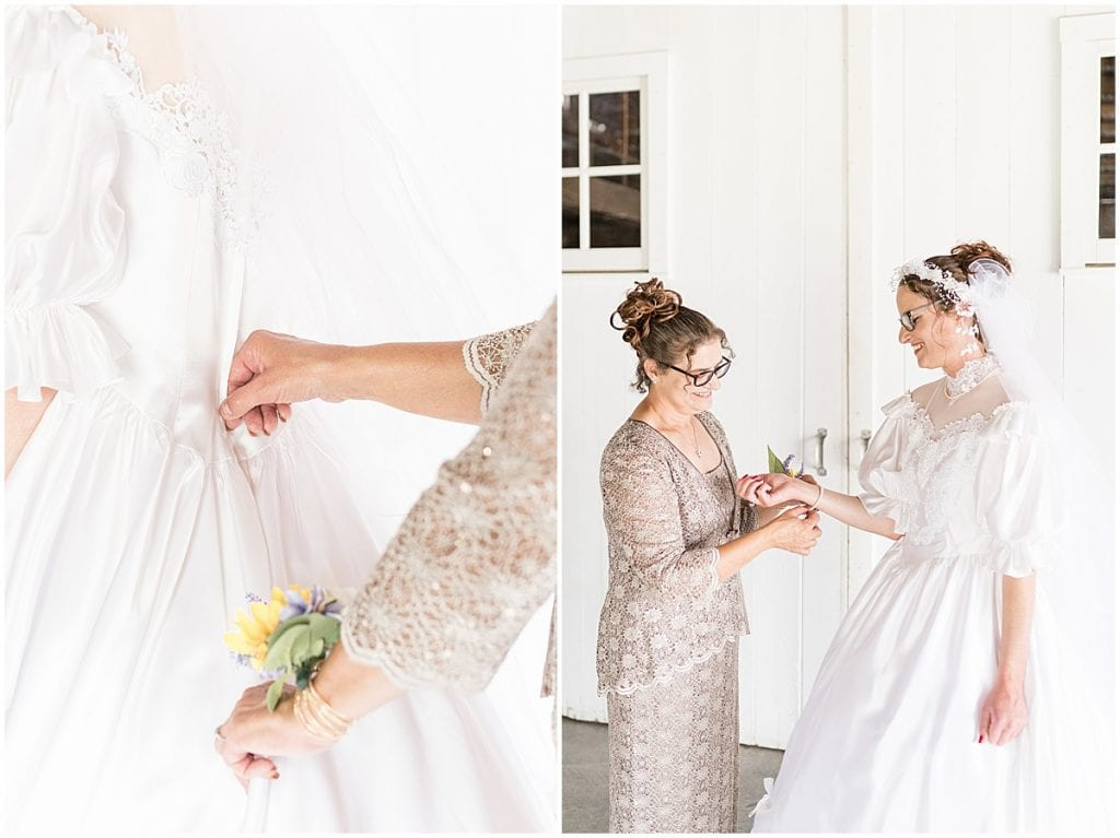 Bride getting ready before Exploration Acres wedding in Lafayette, Indiana