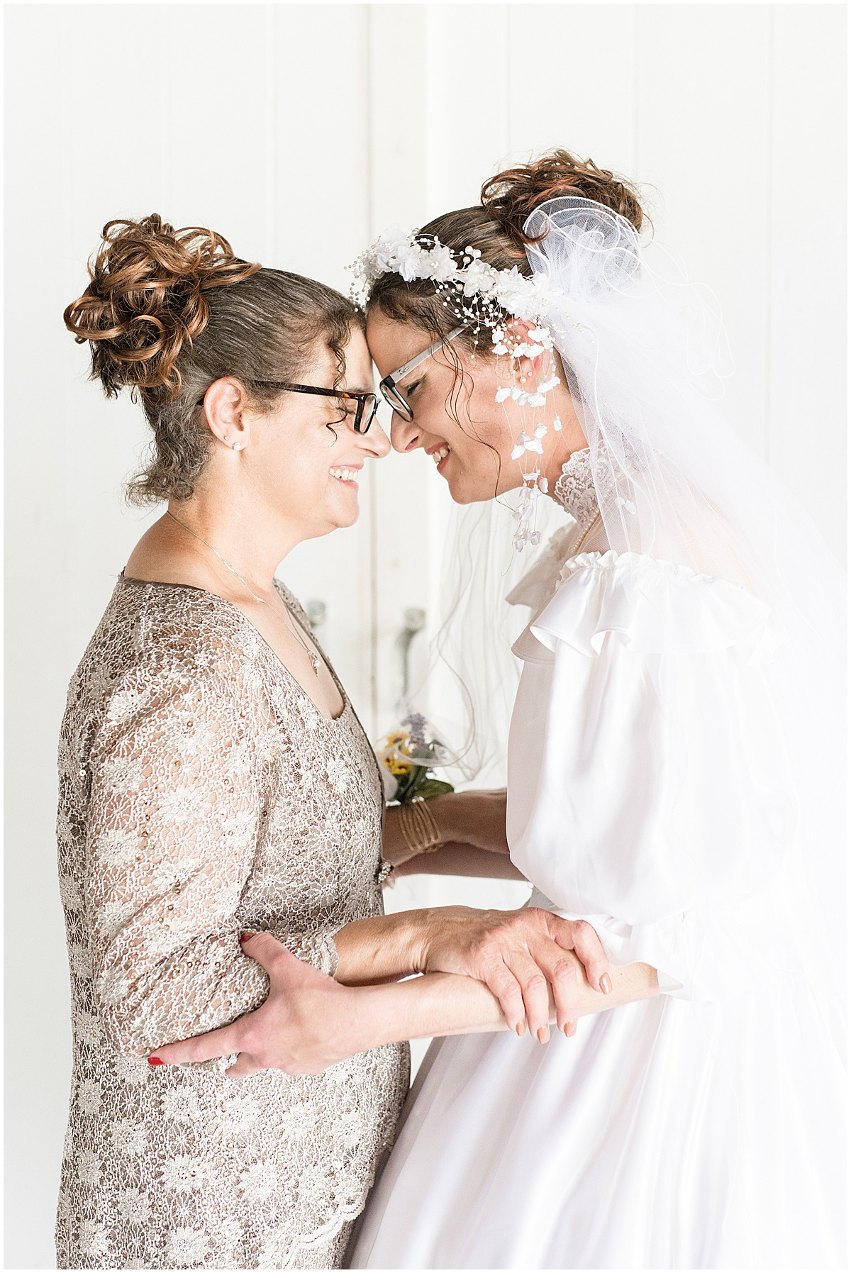 Bride and her mother before her Exploration Acres wedding in Lafayette, Indiana