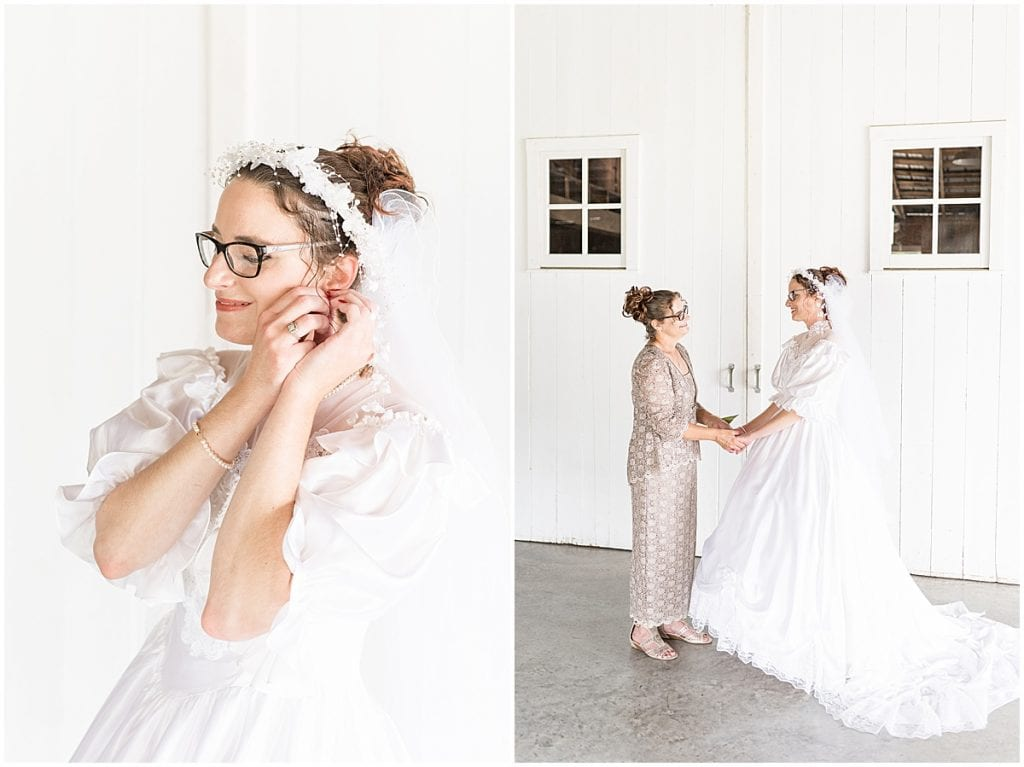 Bride getting ready in her mother's wedding dress before Exploration Acres wedding in Lafayette, Indiana