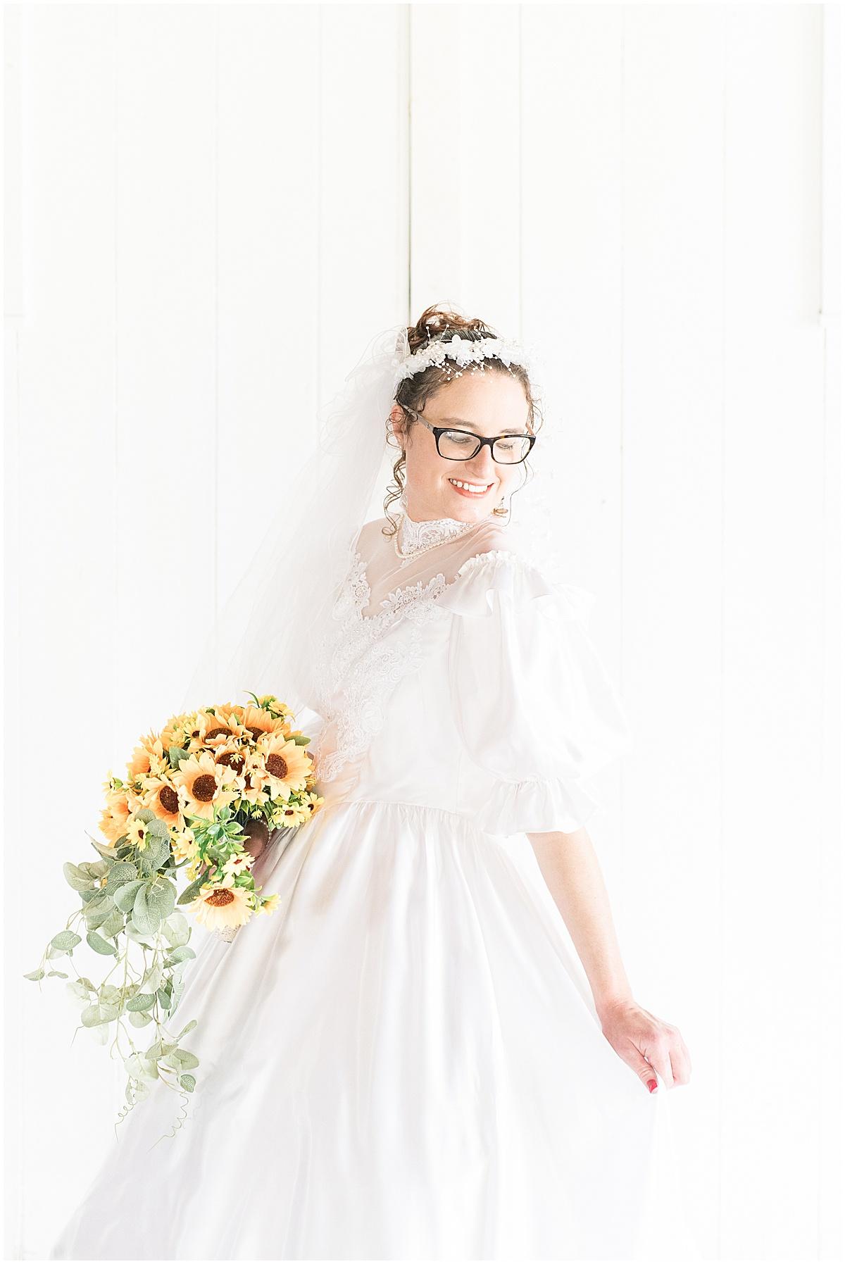 Bridal portraits at Exploration Acres wedding in Lafayette, Indiana