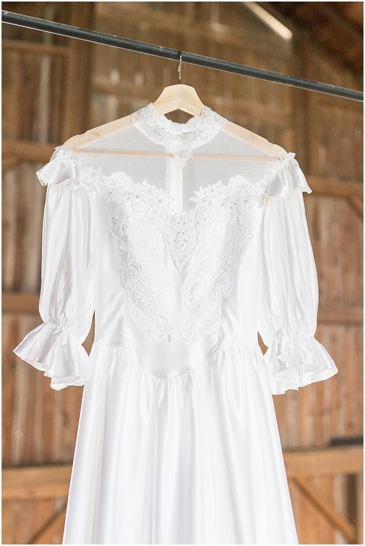 Vintage wedding dress at Exploration Acres wedding in Lafayette, Indiana