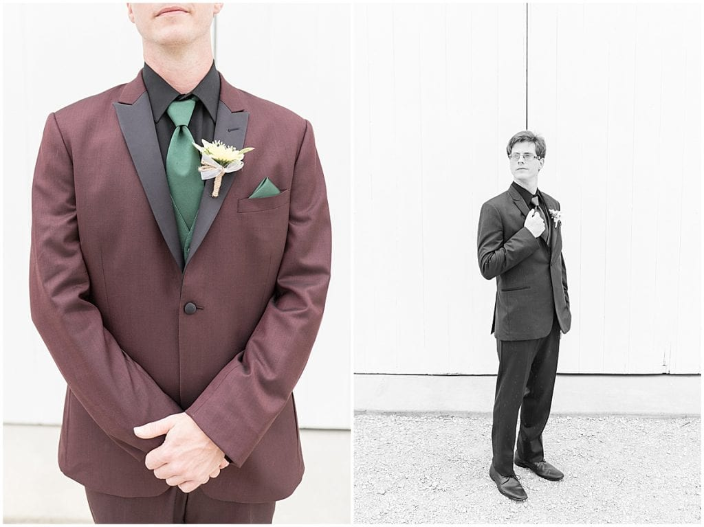 Groom portraits before Exploration Acres wedding in Lafayette, Indiana