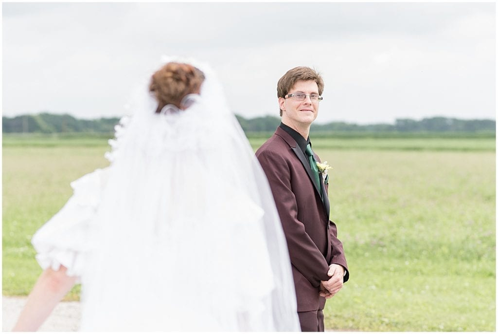 Bride and groom first look in Lafayette, Indiana