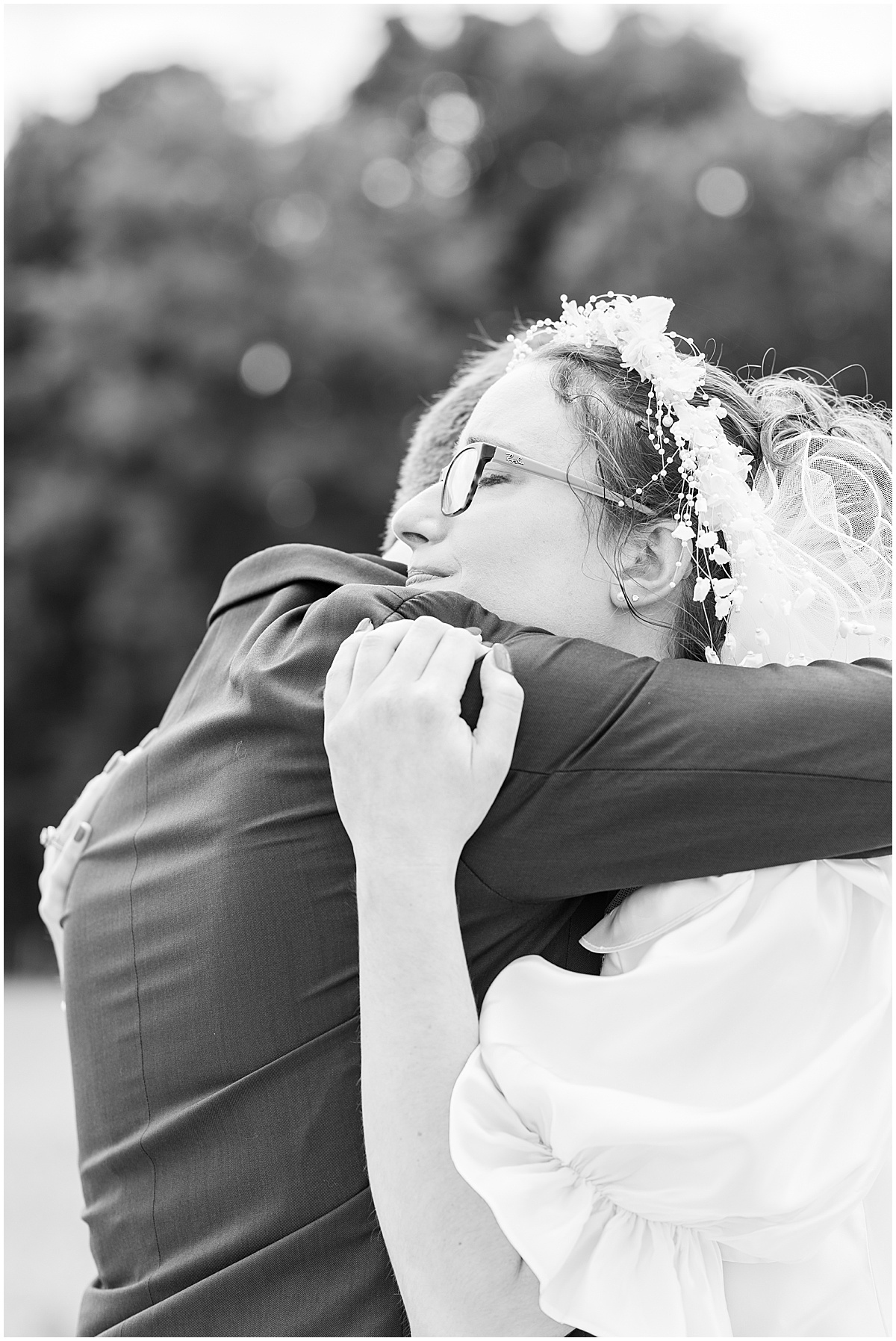 Bride and groom's first look in Lafayette, Indiana