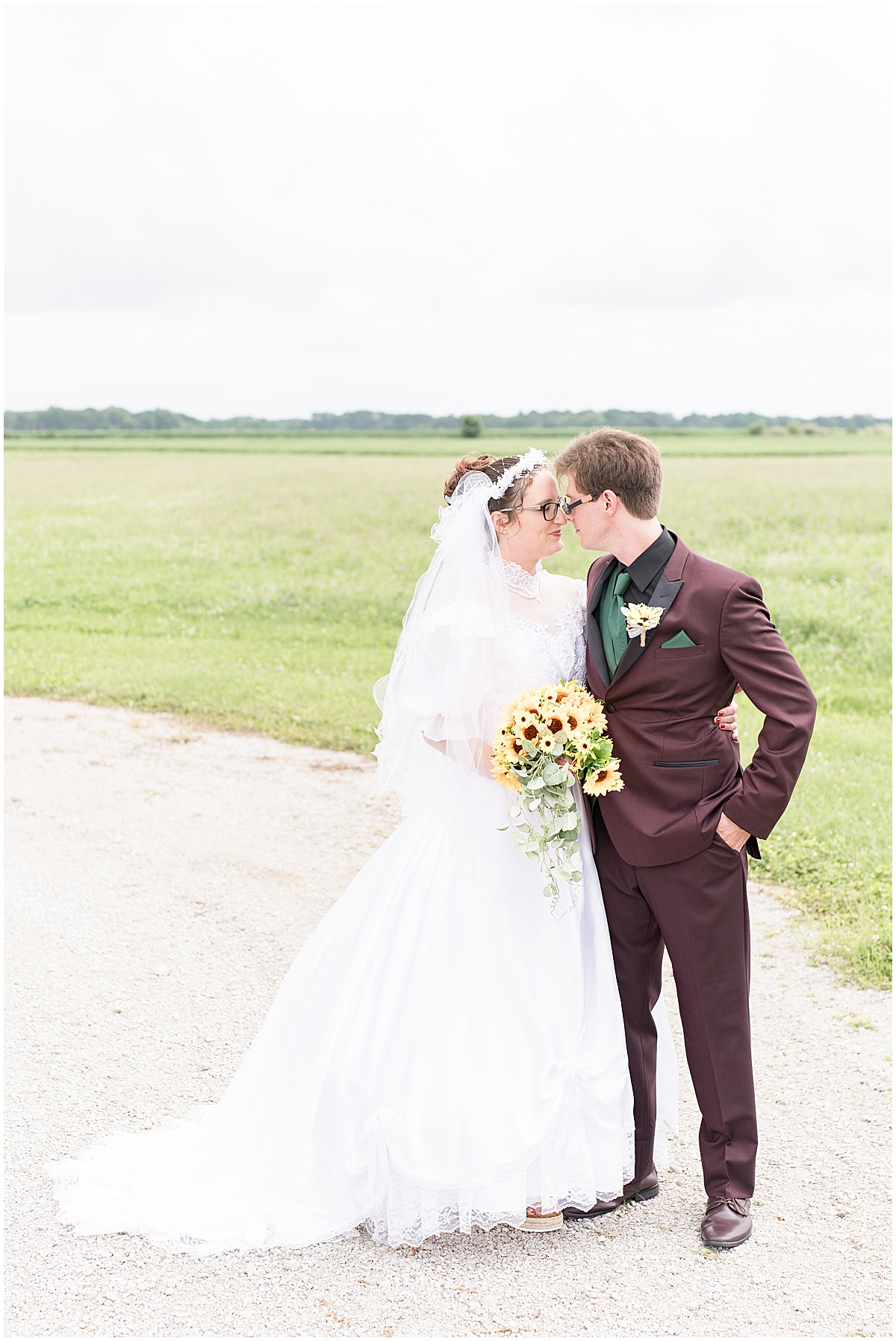 Bride and groom portraits before Exploration Acres wedding in Lafayette, Indiana