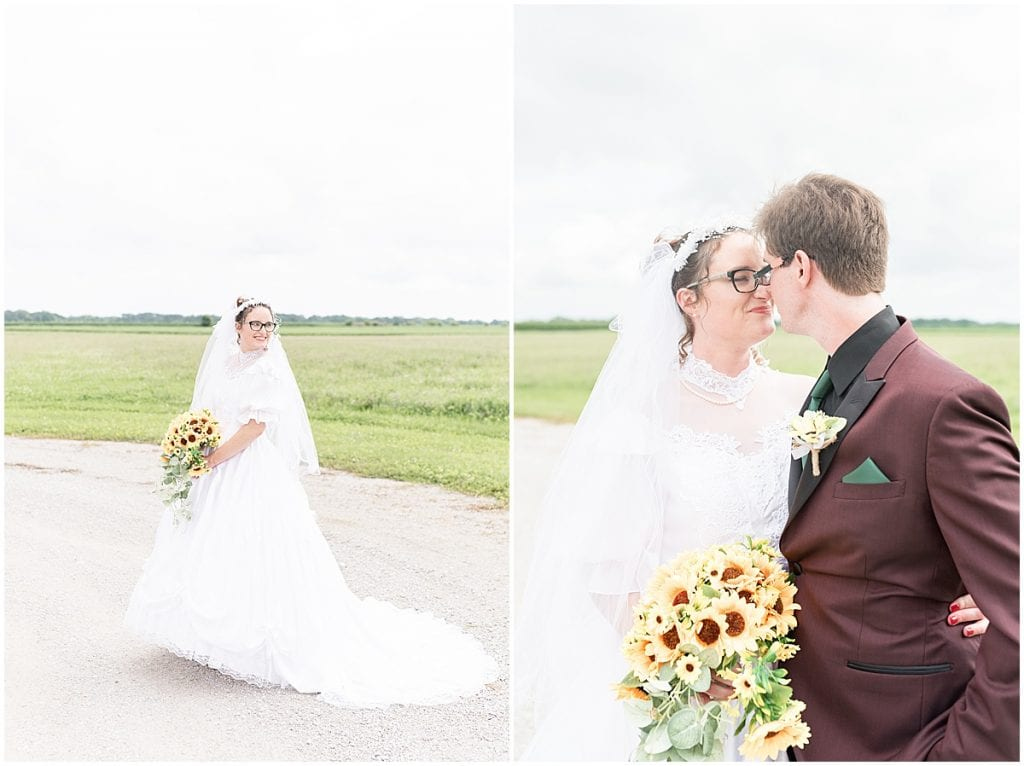 Bride and groom portraits at Exploration Acres wedding in Lafayette, Indiana