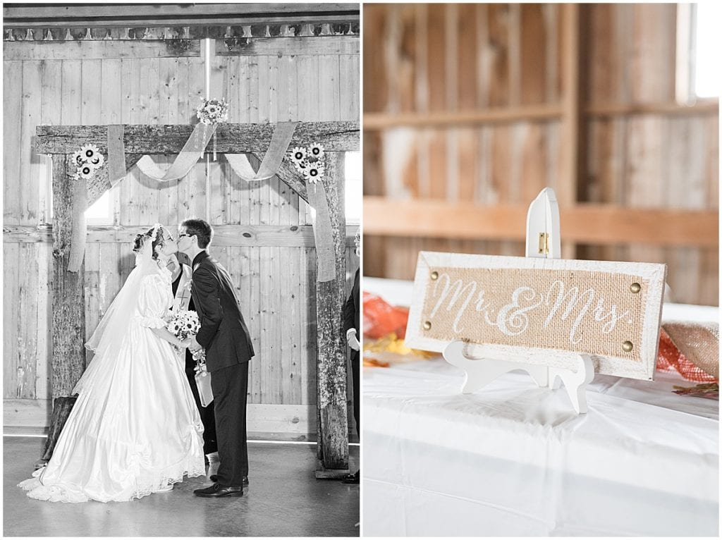 Wedding ceremony at Exploration Acres in Lafayette, Indiana