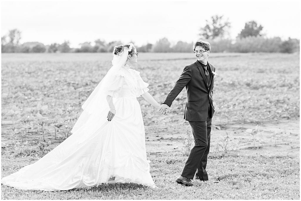 Sunset photos after Exploration Acres wedding in Lafayette, Indiana