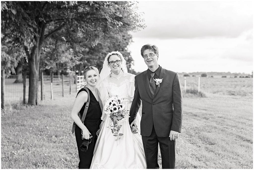 Bride and groom sunset photos after Exploration Acres wedding in Lafayette, Indiana