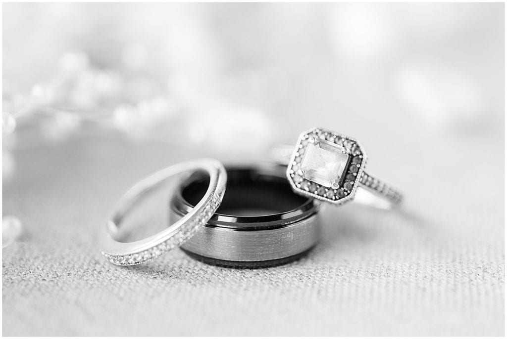 Wedding rings for Exploration Acres wedding in Lafayette, Indiana