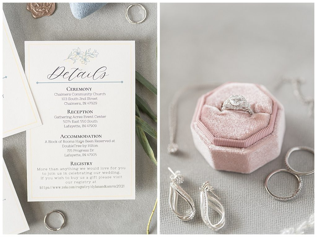 Bridal details for Gathering Acres wedding in Lafayette, Indiana