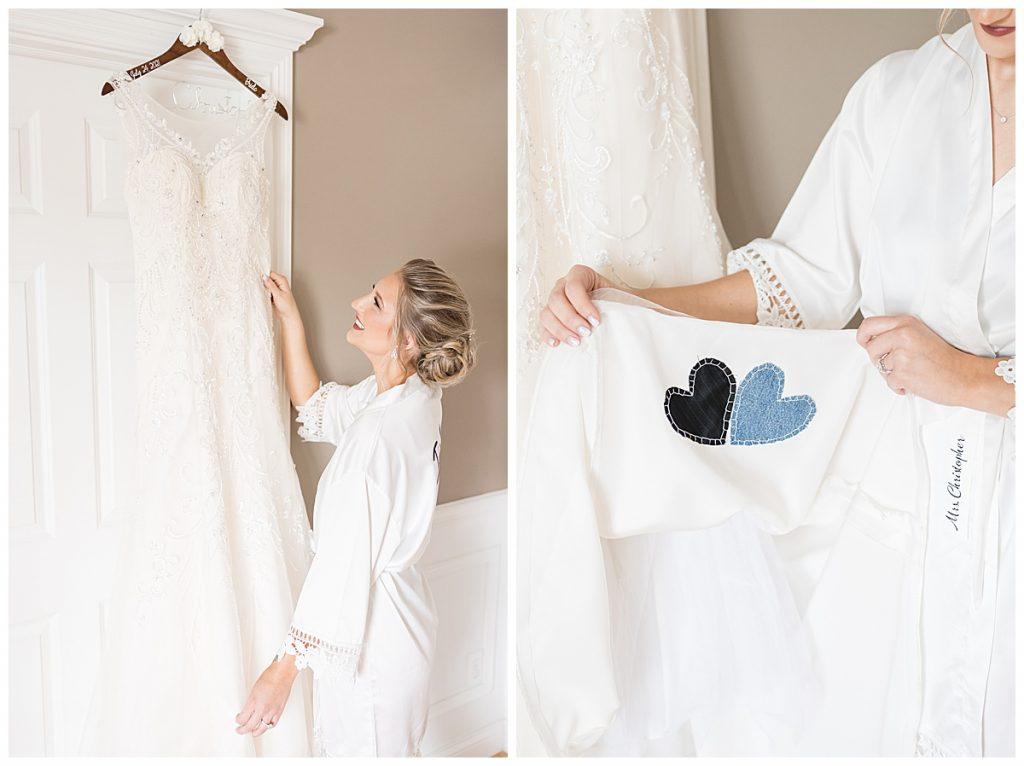 Wedding dress details for Gathering Acres wedding in Lafayette, Indiana