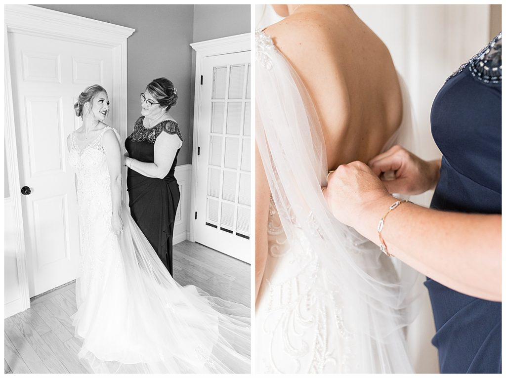 Bride getting ready for Gathering Acres wedding in Lafayette, Indiana