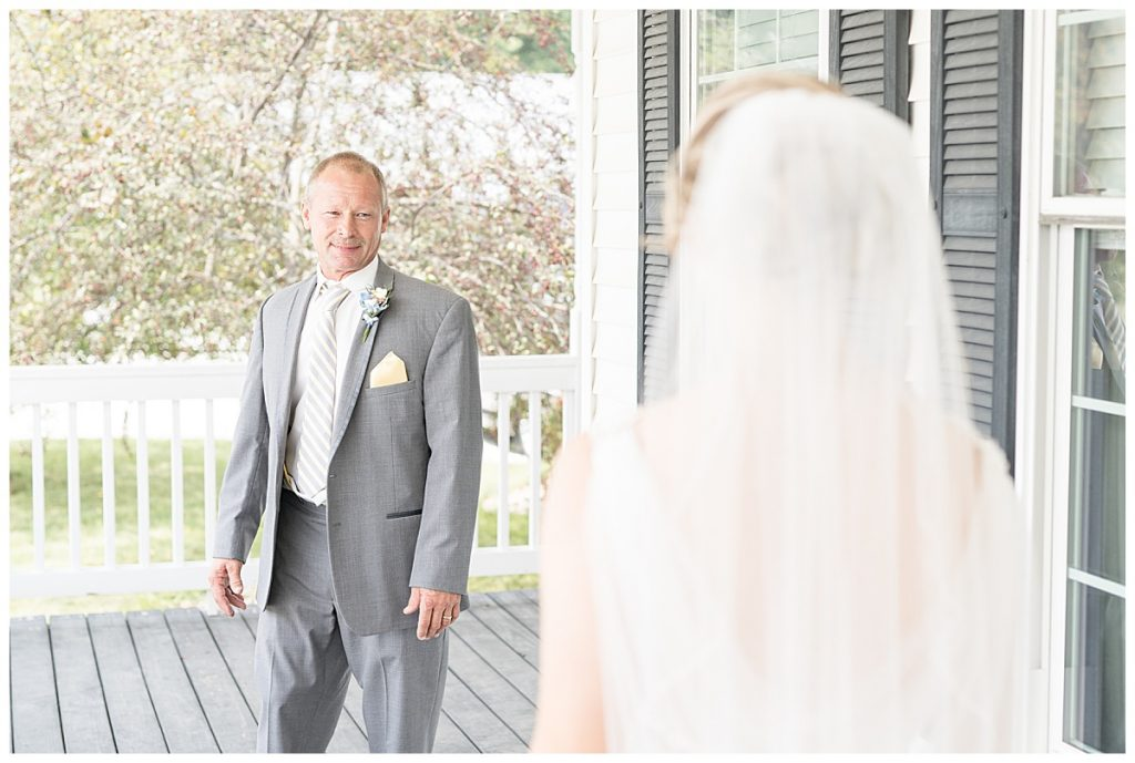 First look with dad before Lafayette, Indiana wedding
