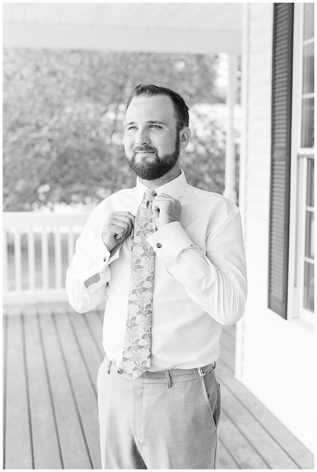 Groom getting ready for Gathering Acres wedding in Lafayette, Indiana