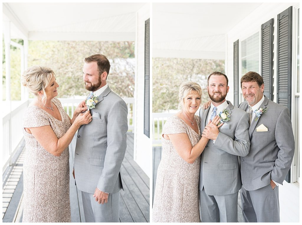 Groom portraits before Gathering Acres wedding in Lafayette, Indiana