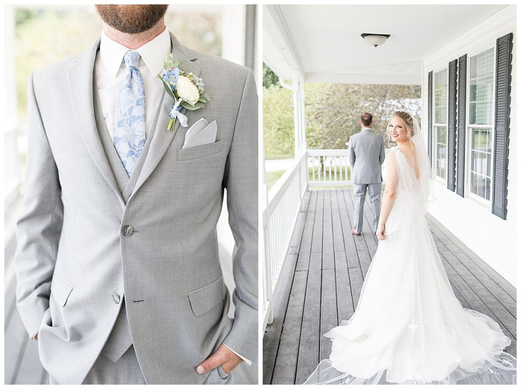 First look before Gathering Acres wedding in Lafayette, Indiana