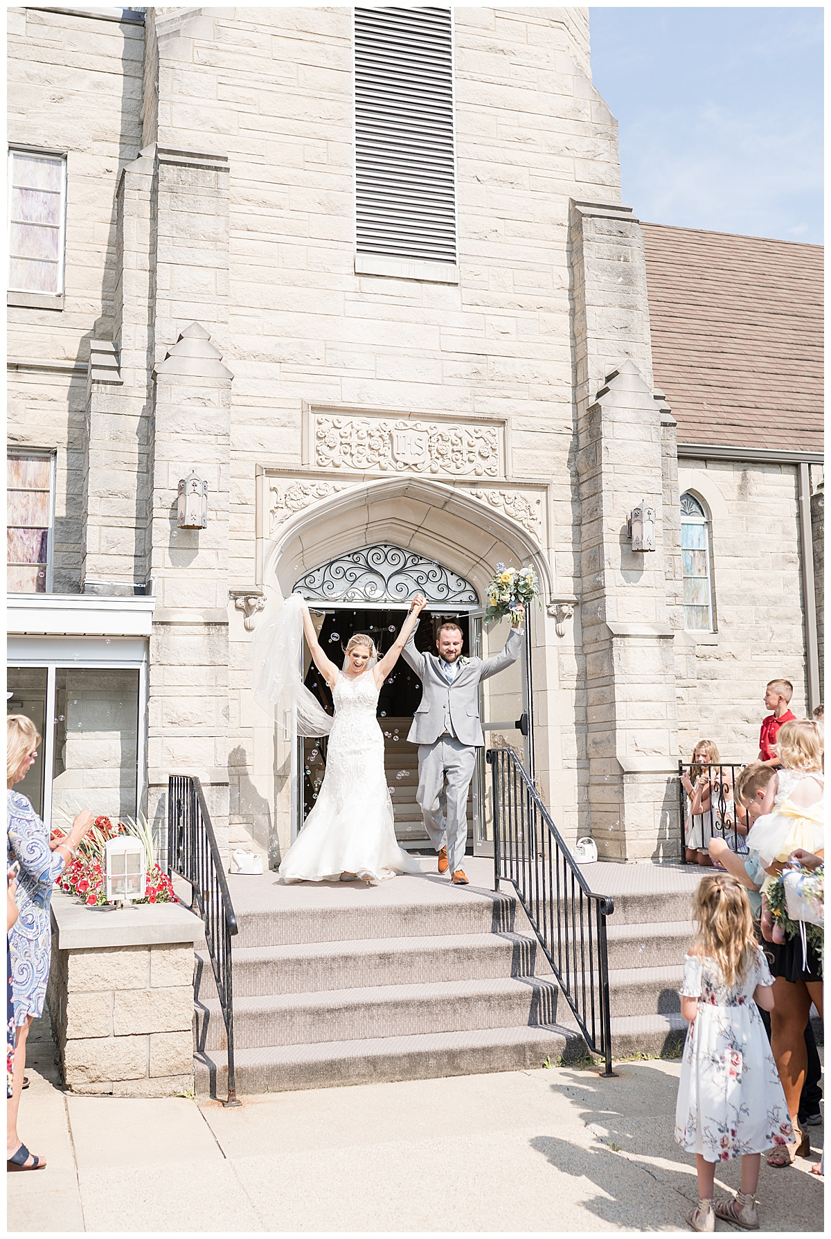 Bride and groom exit after wedding ceremony at Chalmers Community Church in Chalmers, Indiana