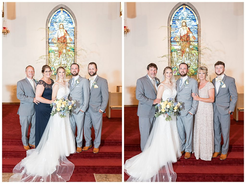 Family portraits after wedding ceremony at Chalmers Community Church in Chalmers, Indiana