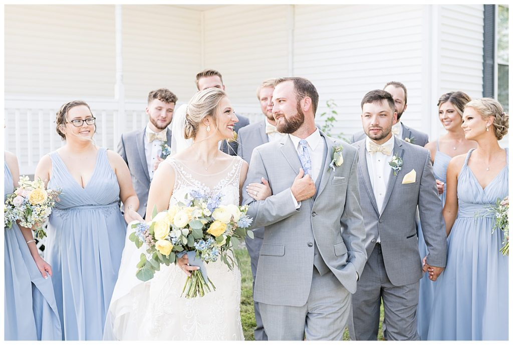 Bridal party photos at Gathering Acres wedding in Lafayette, Indiana