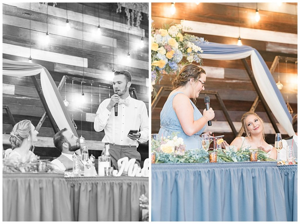 Speeches at Reception for Gathering Acres wedding in Lafayette, Indiana