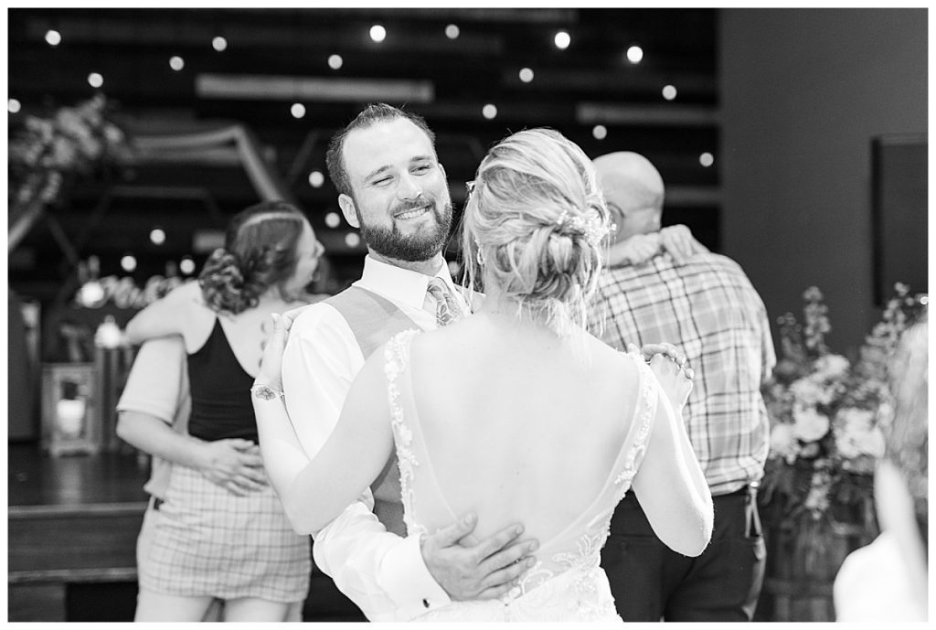 Dancing at Gathering Acres wedding reception in Lafayette, Indiana