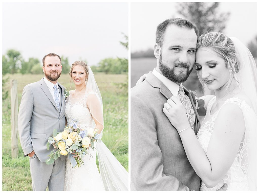 Sunset photos after Gathering Acres wedding in Lafayette, Indiana by Lafayette, Indiana wedding photographer Victoria Rayburn