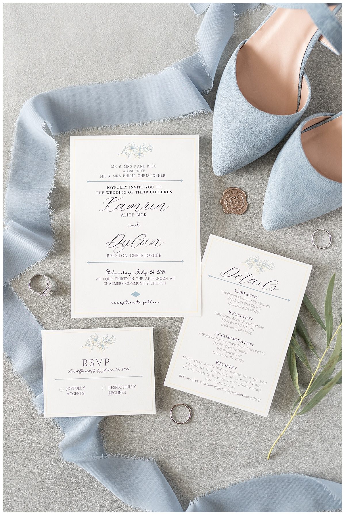 Invitation details for Gathering Acres wedding in Lafayette, Indiana