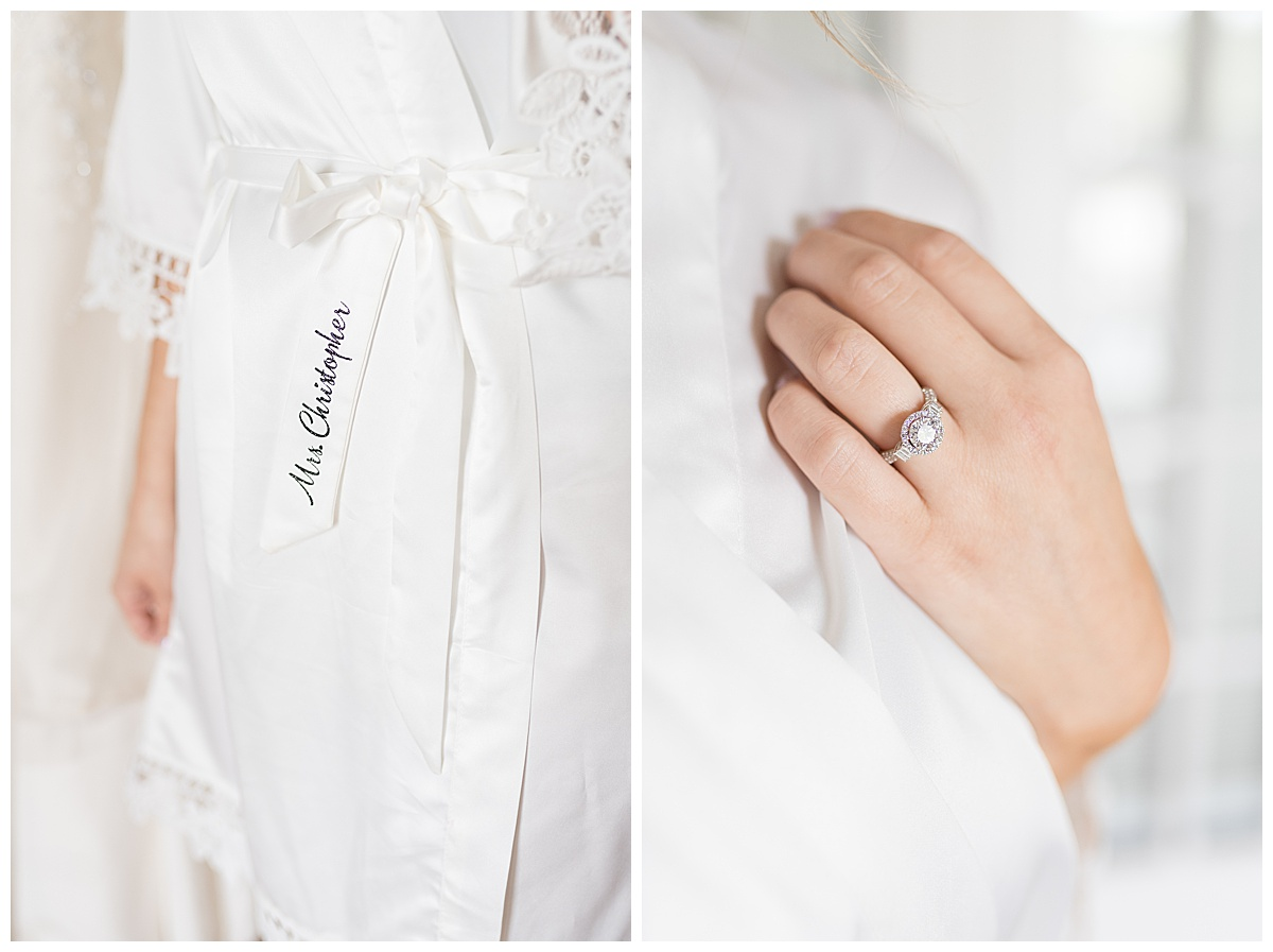 Bridal details at Gathering Acres wedding in Lafayette, Indiana