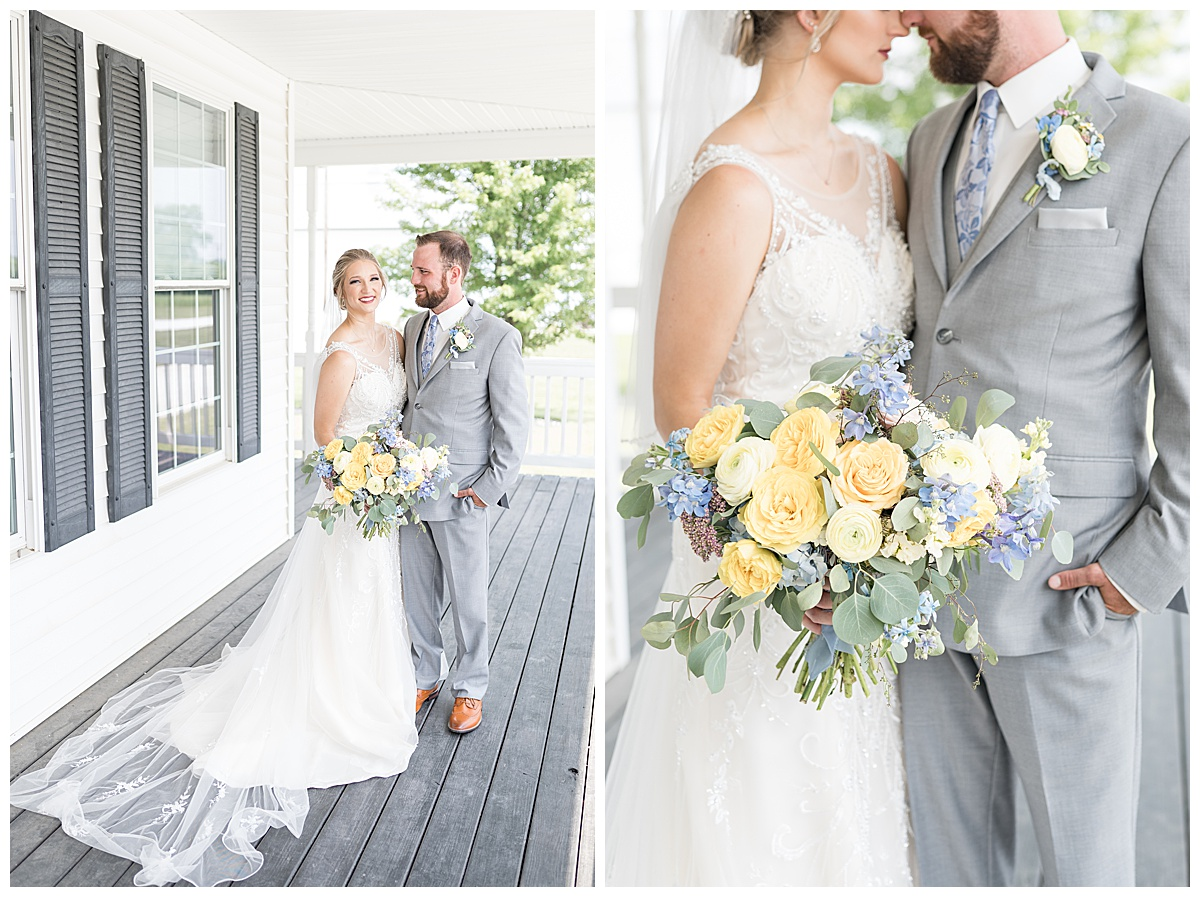 Bride and groom photos at Gathering Acres wedding in Lafayette, Indiana