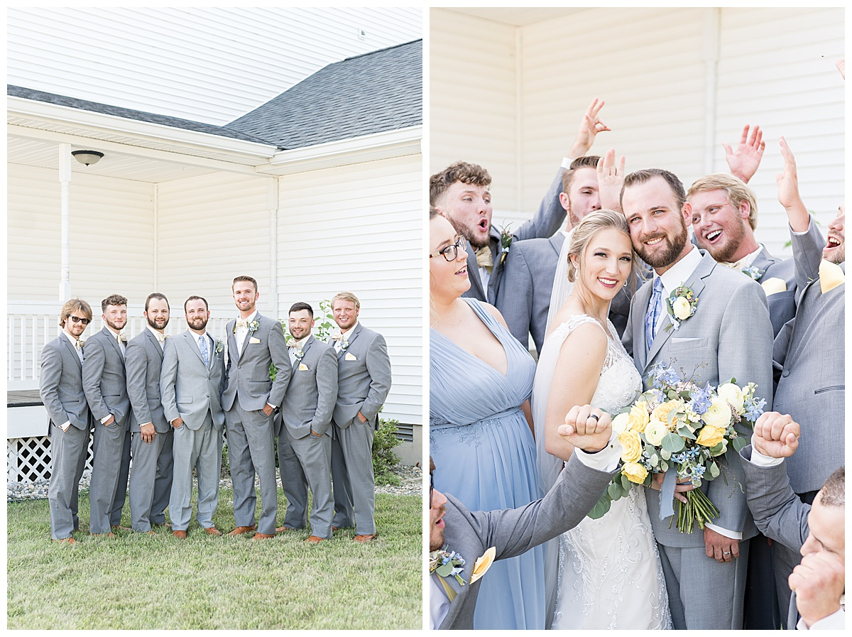 Wedding party photos at Gathering Acres wedding in Lafayette, Indiana
