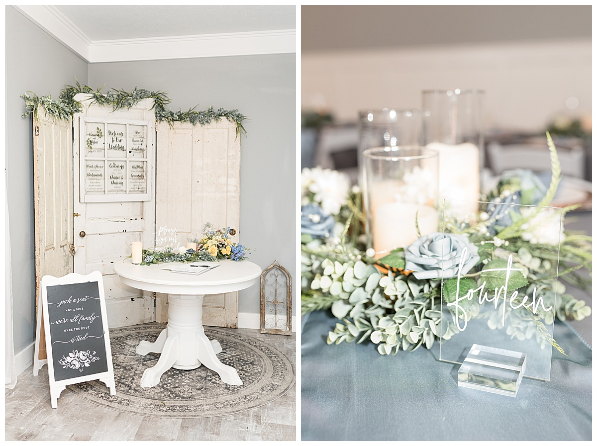 Reception details at Gathering Acres wedding in Lafayette, Indiana